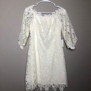 NWT ASTR the Label off shoulder lace mini dress